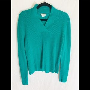 ⭐️ Investments 100% Cashmere Teal Ribbed Top L⭐️